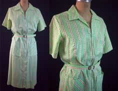 vtg 50s 60s Mod Green Check Floral Zip Up House Dress Belt Rockabilly Pin-Up S/M