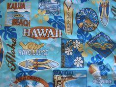 "$36.95 - Quilted 2PC - ""AQUA BLUE - OAHU SURF"" Hawaiian Car Seat Covers!"