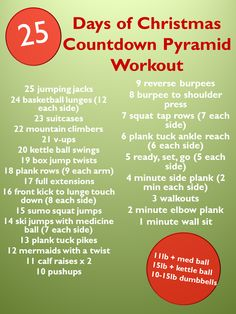 25 Days of Christmas Countdown Pyramid Workout Monday Workout, Wod Workout, Boot Camp Workout, Workout Challenge, Workout Ideas, Workout Fitness, Challenge Group, Fitness Fun, Workout Plans