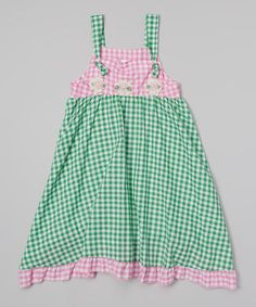 Another great find on #zulily! Pink & Green Gingham Frolic Dress - Infant, Toddler & Girls #zulilyfinds