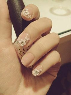 A vintage wedding with classic nude nails!