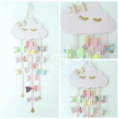 Wooden cloud hair bow holder that has 3 hanging ribbons weighted with glittered raindrops. Cloud available in various colors:- Pastel pink Mint green Peach Lemon Lilac PLEASE MESSAGE with ribbon color:- Pink Mint green Peach Lemon Lilac ** if no ribbon color has been given it will
