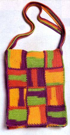tejidos artesanales en crochet: bolso de motivos tejido en crochet