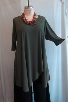 tunics for plus sizes | Coco and Juan Plus Size Asymmetric Tunic Top Olive Traveler Knit Size ...