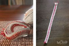 Baseball Bracelet - Life in Left Field Gifts For Baseball Players, Baseball Gifts, Baseball Bracelet, Yard Games, Unusual Jewelry, Buzzfeed, Patterns, Bracelets, Crafts