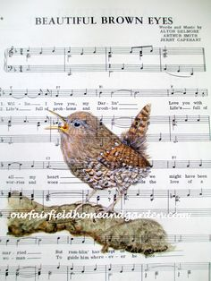 Singing Wren watercolor painting print on vintage sheet music by Barb Rosen of Our Fairfield Home and Garden. Print size 8 1/2 in wide and 11 3/4 in tall. Fits a standard 8 x 10 mat or frame nicely. Click through to see more!