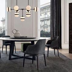 Chaise de salle à manger contemporaine / en tissu / en bois massif / en cuir GRACE by Emmanuel Gallina Poliform