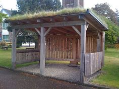 Smaller version would be fun for the backyard on rainy days! Outdoor rain shelter for the kids Outdoor Learning Spaces, Outdoor Spaces, Outdoor Living, Rain Shelter, Horse Shelter, Outdoor Shelters, Camping Shelters, Living Roofs, Outdoor Classroom