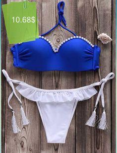 ee192e22c Sexy Strapless Fringed Beaded Bikini Set For Women Biquinis