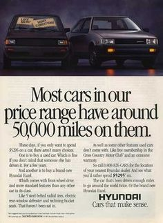 Old Hyundai ad from the 1980s. www.graysonhyundai.com #hyundai #throwbackthursday