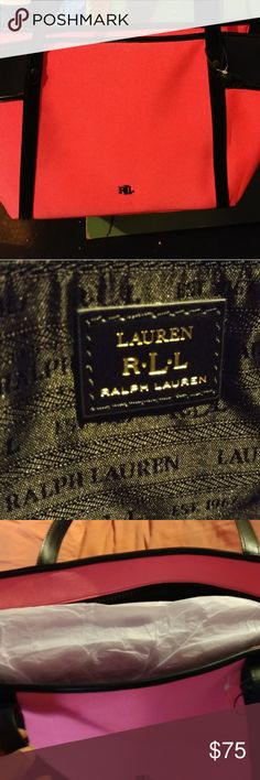 Ralph lauren black and hot pink bag. Practically new bag . never used. In  Very good condition. it's a large bag thats light weight. Ralph Lauren Bags Shoulder Bags