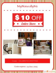 We are happy to announce $10.00 OFF our Entire Store. Coupon Code: CELEBRATECHRISTMAS Min Purchase: 75.00 Expiry: 24-Dec-2015 Click here to view all products:  Click here to avail coupon: https://orangetwig.com/shops/AAAWWt3/campaigns/AAByckt?cb=2015012&sn=MyNaturallyMe&ch=pin&crid=AAByclf