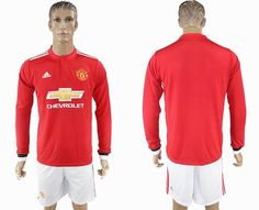 2017-2018 Manchester united red long sleeve soccer jersey home