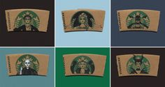Unless you've been living under a rock, or in some sort of Amish enclave, your entire life, you probably know what the (mer)lady on the Starbucks logo looks like. One amateur artist has decided to take Starbucks coffee cup sleeves and transform the logo lady into various pop-culture icons and post them up on Instagram. Awesome!