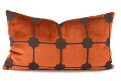 Burnt Orange & Brown Geometric Cut Velvet Lumbar by ThePillowSpot