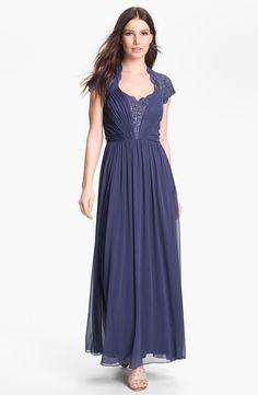 Alex Evenings  Lace Appliqué & Pleated Mesh Gown (Petite)    2 reviews   write a review   2 questions  $175.00