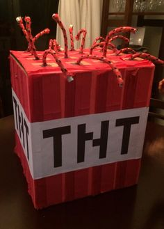 TNT pinata! I made it for my son's minecraft party!
