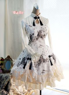 Wa Lolita Dress with Landscape Print.  Very unique dress, I've never seen a pattern like this before, but I like it! The cut of this dress is very cute.  Love the style!