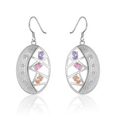 Buy Fashion Earrings Women Trendy Oval Silver Plated Silvering Zircon with wholesale free shipping & drop shipping.