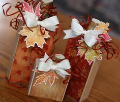 cute fall wood block pumpkins with stamped leaves by Glitz Design