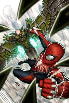 Now I can show you my Spider-Man🕷 Sinister Six variant—featuring the awesome new Vulture design from the game. Will ship as a cover on SPIDER-MAN: CITY AT WAR Who had a hard time with this boss fight? Marvel Comic Universe, Marvel Vs, Marvel Heroes, Spiderman Art, Amazing Spiderman, Vulture Marvel, Superhero Design, Silver Age Comics, Comic Pictures