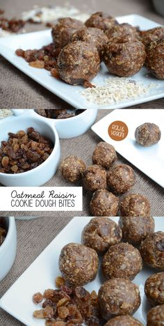 Oatmeal Raisin Cookie Dough Bites! Taste just like cookie dough, no blender required, just 8 ingredients. No-Bake, Vegan and Gluten-Free!