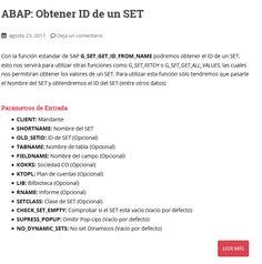 Manual SAP/ABAP para obtener ID de un SET con la función G_SET_GET_ID_FROM_NAME