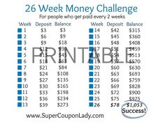 26 week money challenge for people who get paid every two weeks. To make this e… 26 week money challenge for people who get paid every two weeks. To make this easier for me, I start with the largest deposits… Continue Reading → - Ways To Save Money, Money Tips, Money Saving Tips, Saving Ideas, Money Week, Big Money, Money Budget, Money Hacks, Budget Plan