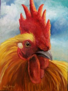 Rooster+Giclee+Canvas+Print+Golden+King+Animal+by+artprintsbycheri