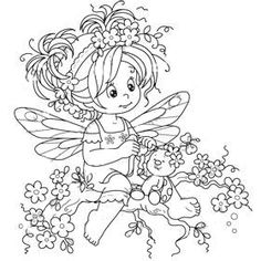 Mom Coloring Pages, Coloring Books, Embroidery Art, Embroidery Patterns, Whimsy Stamps, Baby Fairy, Mandala, Digital Stamps, Cute Art