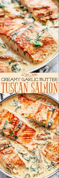Creamy Garlic Butter Tuscan Salmon is a restaurant quality pan seared salmon in . - Creamy Garlic Butter Tuscan Salmon is a restaurant quality pan seared salmon in – Salmon Recipes - Baked Salmon Recipes, Seafood Recipes, Dinner Recipes, Cooking Recipes, Healthy Recipes, Amish Recipes, Dutch Recipes, Whole30 Recipes, Kitchen Recipes