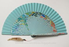 "Abanico Tirititran. Hand painted spanish fan. ""Blue with colorful leaves"""