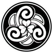 Cute Celtic design featuring a spiral triskele and a shamrock.