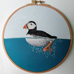 Water Animals, Like Animals, Embroidery Art, Embroidery Designs, Water Pictures, Thread Painting, String Art, Art Forms, Lovers Art