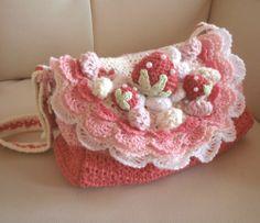 かぎ編み いちごのショートケーキ 通園バッグの作り方 編み物 編み物・手芸・ソーイング   アトリエ