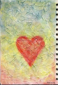 crinkles - tissue over book page, pan pastels, & ModPodge  #journal #heart