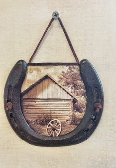 Rustic Horseshoe Wall Hanging with Old Barn by SRVintageandDesigns