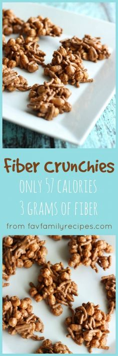 When I did Weight Watchers these Fiber Crunchies were my favorite snack. This recipe makes 14 Crunchies and each Crunchie is only 57 calories! via Favorite Family Recipes Ww Recipes, Popular Recipes, Snack Recipes, Dessert Recipes, Cooking Recipes, Recipes Dinner, Recipies, Yummy Treats, Delicious Desserts
