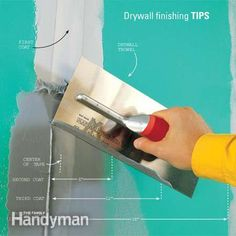 Learn the drywall taping tips and techniques that pros use to speed up their work. And learn how to finish drywall. Home Improvement Projects, Home Projects, Home Renovation, Home Remodeling, Bathroom Remodeling, Bathroom Ideas, Drywall Finishing, Basement Finishing, Gypse