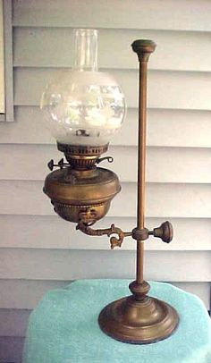 Antique Harvard Student Brass Oil Lamp