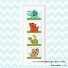 Set of 4  Unframed Animal by PersonalizedbyDiane on Etsy