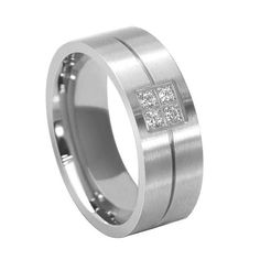 This+masculine+diamond+engagement+ring+wedding+band+has+four+pave+set+diamonds+total+of+0.12Ct.+G+/+VS1+color+and+clarity.+It+has+comfort+fit+inside+of+the+band.+It+is+made+out+of+14K.+white+gold+and+8mm+wide.