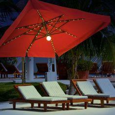Portofino Pro 8u0027 Square Lighted Offset Patio Umbrella   This Is A MUST Have!