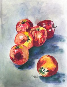 Apple Still Life Watercolor Print by CharlasShop on Etsy, $20.00