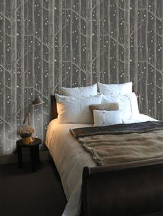 Woods and Stars Wallpaper - Midnight Blue - By Cole and Son - Blue Wallpaper Bedroom, Dark Blue Wallpaper, Cole And Son Wallpaper, Star Wallpaper, Wood Wallpaper, Blue Wallpapers, Birch Tree Wallpaper, Star Bedroom, Home Bedroom