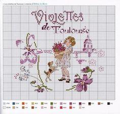 0 point de croix grille et couleurs de fils petite fille et violettes de toulouse