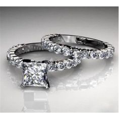 2.50Ct Princess Cut Engagement Ring & Matching Wedding Band 14K Solid White Gold #Diamond Forever #Solitaire with Accents #Princess Diamond #Diamond #2CT #Engagement #Ring #Wedding #14k #White #Gold