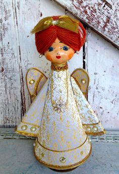 Vintage Angel Paper Mache Musical Angel by LititzCarriageHouse, $40.00