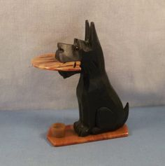 Carved Wood & Bakelite Scottie Scotty Dog Fruit Knife Holder - Germany