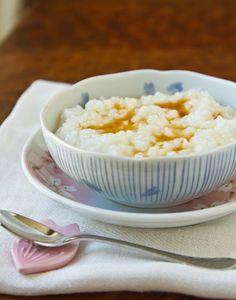 Ginger Honey Okayu (Japanese Rice Porridge) from La Fuji Mama (http://punchfork.com/recipe/Ginger-Honey-Okayu-Japanese-Rice-Porridge-La-Fuji-Mama)